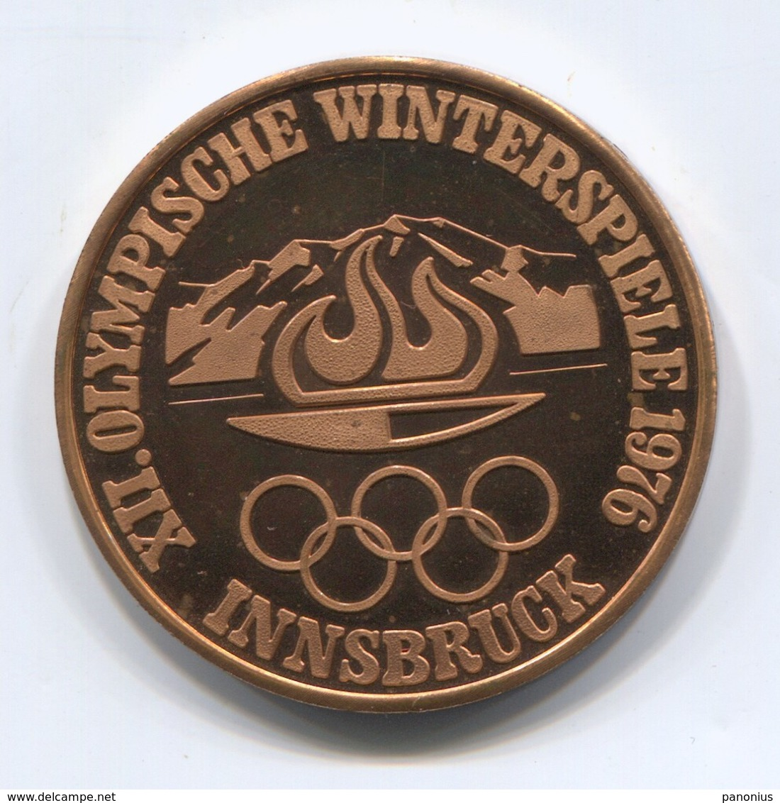 OLYMPIC OLYMPIADE COMMITTEE - INNSBRUCK AUSTRIA 1976, FAST SKATING, MEDAL, D 35 Mm - Habillement, Souvenirs & Autres
