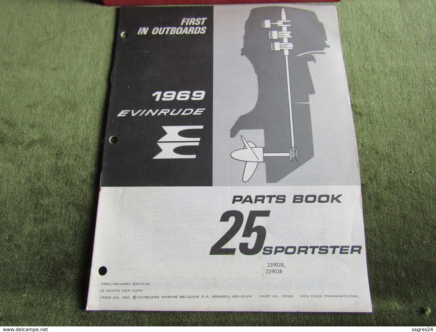 Evinrude Outboard 25 Sportster Parts Book 1969 - Boats
