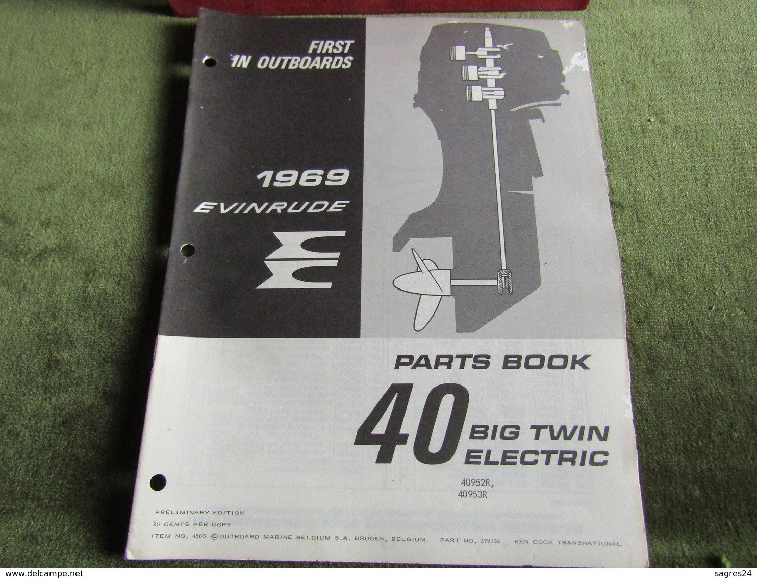 Evinrude Outboard 40 Big Twin Electric Parts Book 1969 - Boats