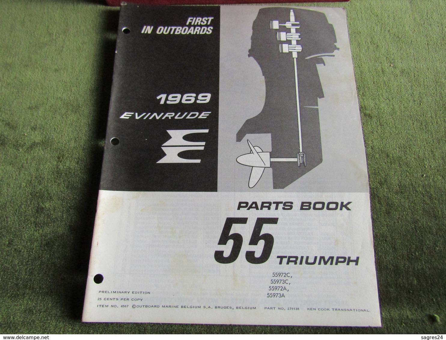 Evinrude Outboard 55 Triumph Parts Book 1969 - Boats