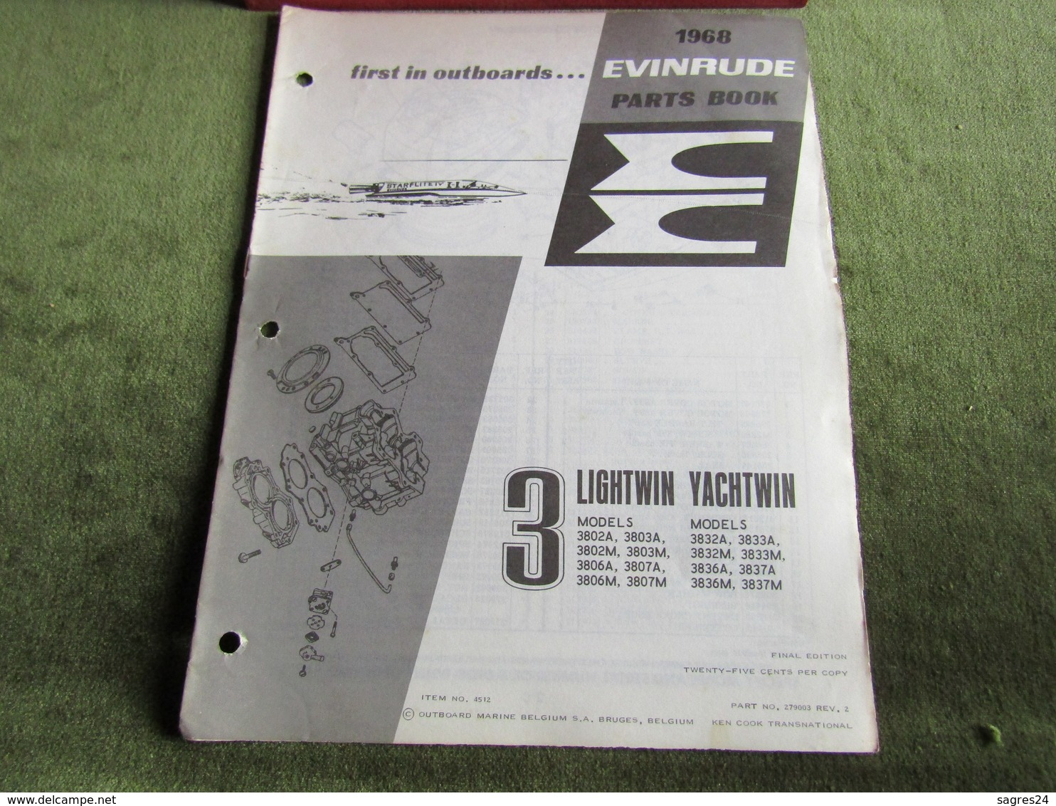 Evinrude Outboard 3 Lightwin Yachtwin Parts Book 1968 - Boats