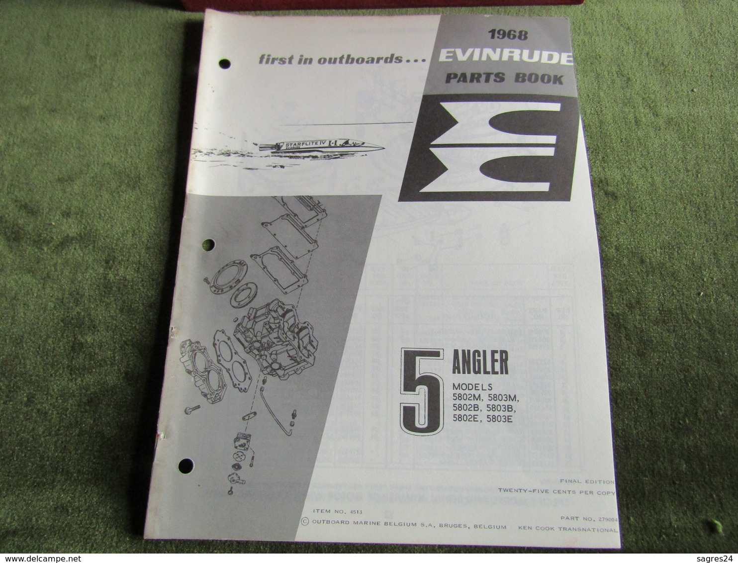 Evinrude Outboard 5 Angler Parts Book 1968 - Boats