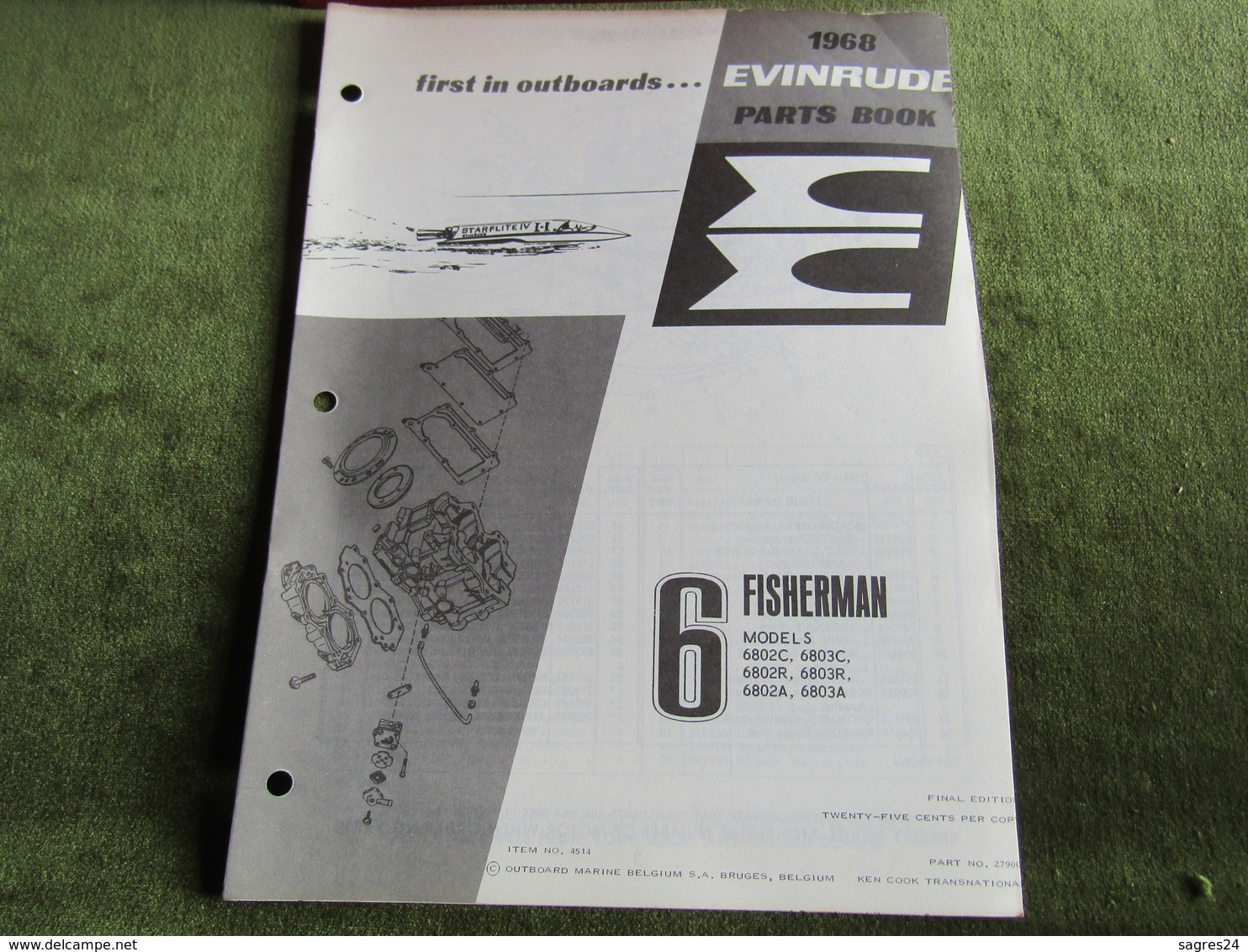 Evinrude Outboard 6 Fisherman Parts Book 1968 - Boats