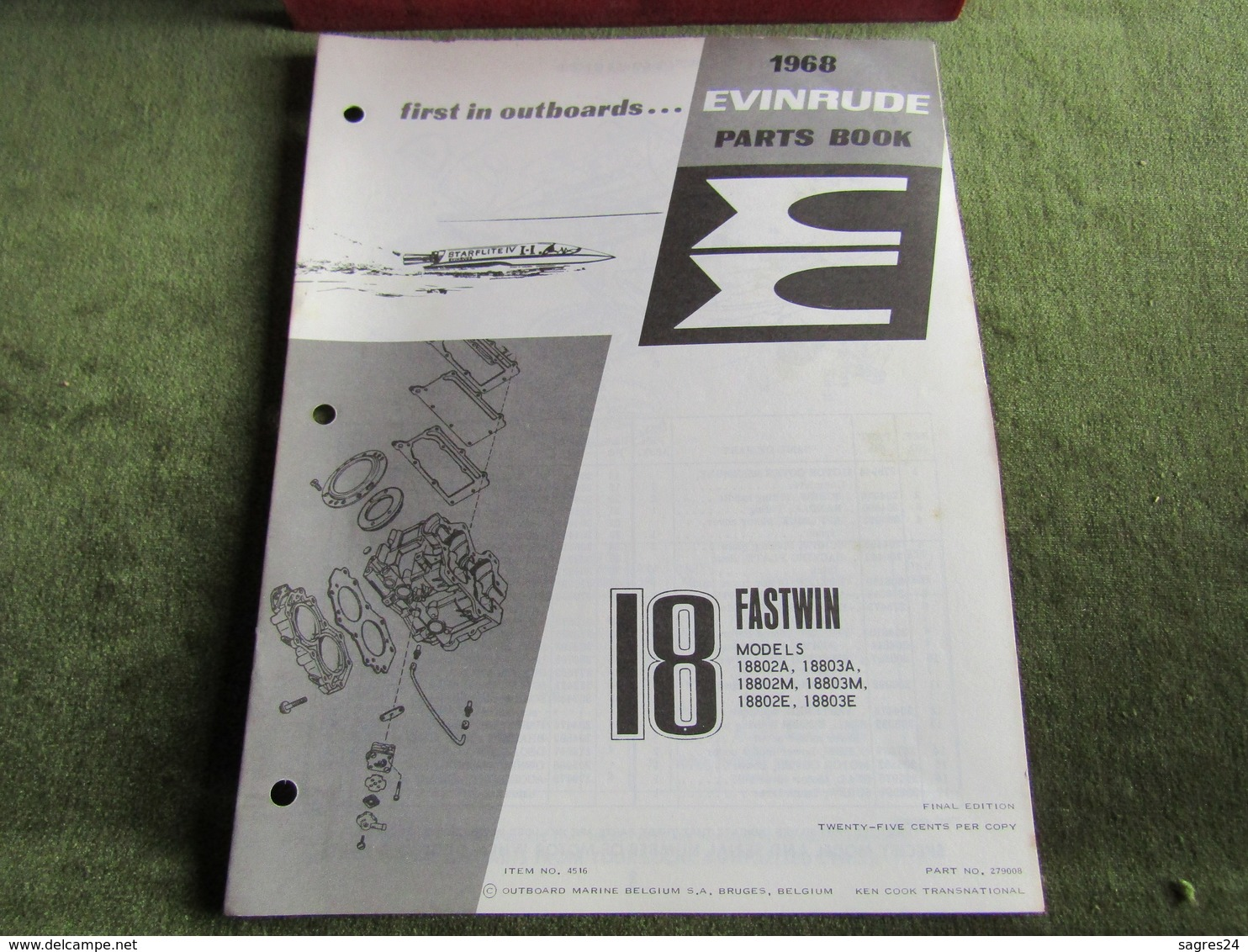 Evinrude Outboard 18 Fasttwin Model S Parts Book 1968 - Boats