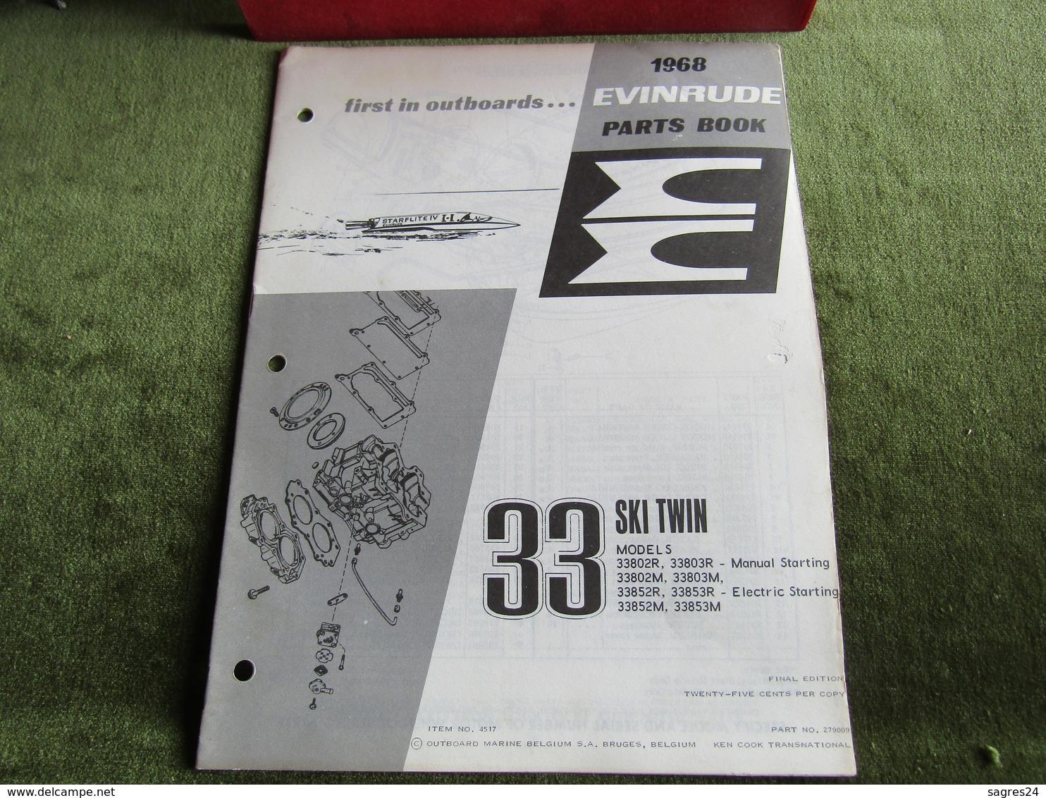 Evinrude Outboard 33 Ski Twin Model S Parts Book 1968 - Boats