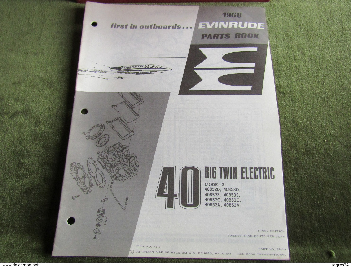 Evinrude Outboard 40 Big Twin Electric Model S Parts Book 1968 - Boats