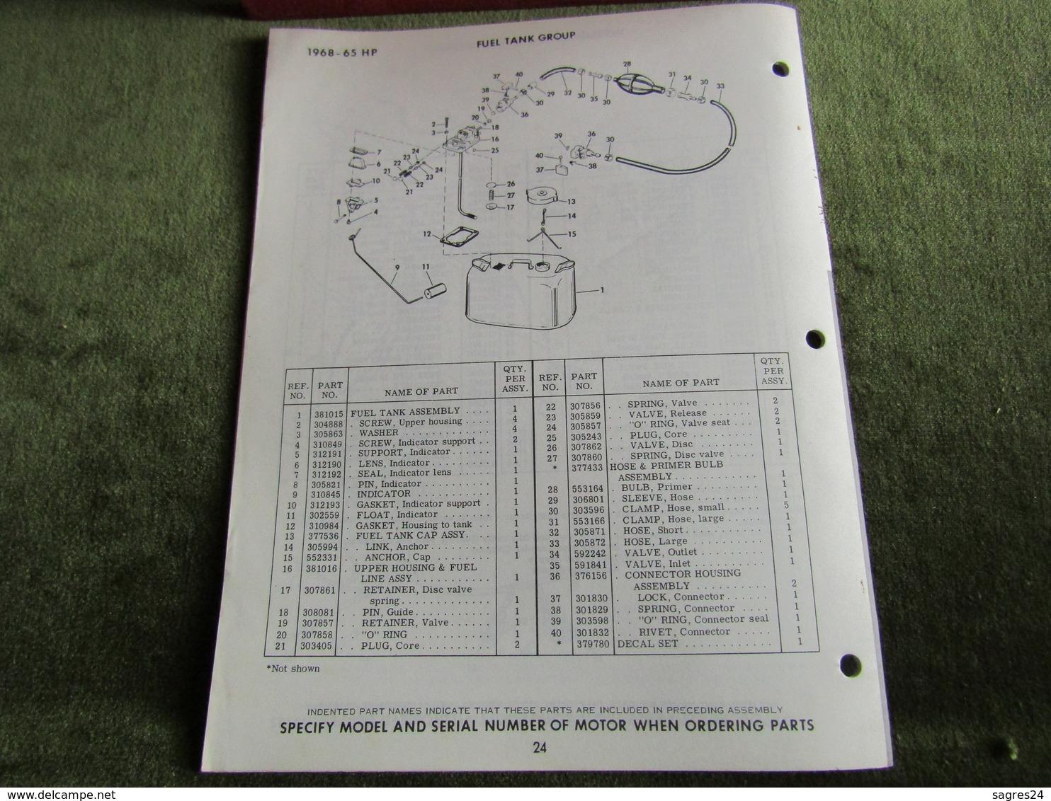 Evinrude Outboard 65 Sportfour Model S Parts Book 1968 - Boats