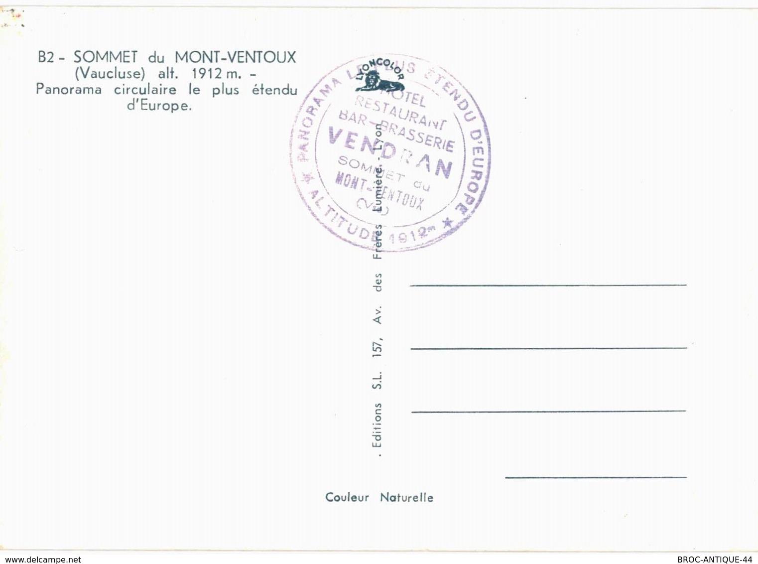 CPM* N°767 - SOMMET DU MONT VENTOUX + CACHET HOTEL RESTAURANT BAR BRASSERIE VENDRAN - PANORMA LE PLUS ETENDU D' EUROPE - Frankreich