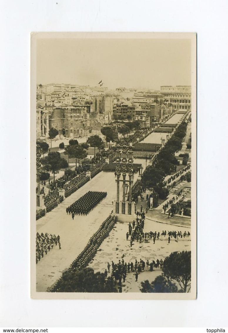 1938  San Marino / 3. Reich Photo Hoffmann Photokarte Führerbesuch In Italien Grosse Truppenparade In Rom - Briefe U. Dokumente