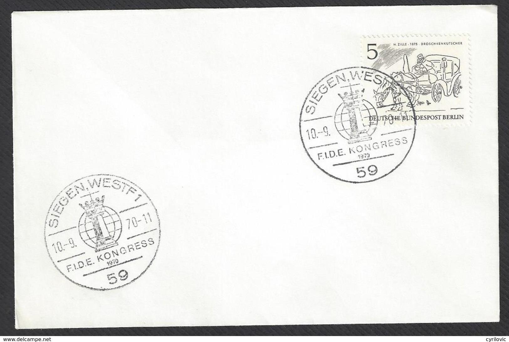 Chess, Germany Siegen, 10.09.1970, Special FIDE Congress Cancel On Envelope, 19th Chess Olympiad - Schaken