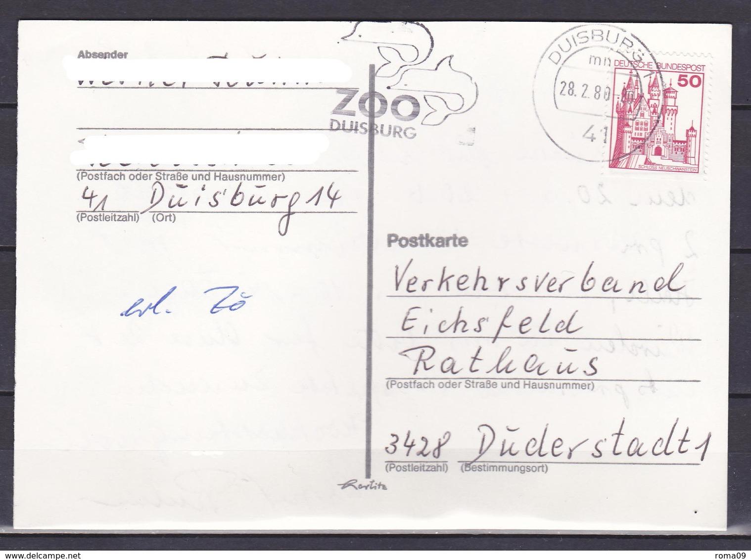 BRD, MiNr. 916 D; EF Auf Portoger. Karte Von Duisburg Nach Duderstadt; B-2122 - BRD