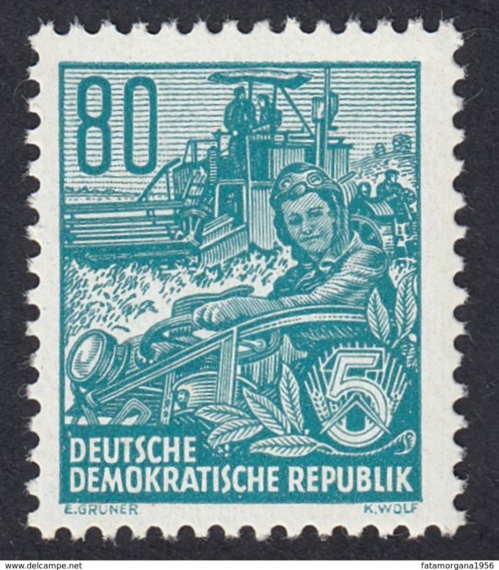 GERMANIA DDR - 1954 - Yvert 161 Nuovo MNH. Piano Quinquennale. 80 P., Blu/verde. - DDR