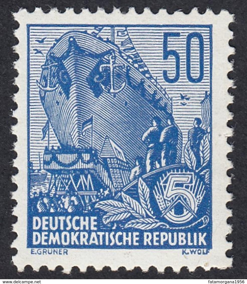 GERMANIA DDR - 1955 - Yvert 193 Nuovo MNH. Piano Quinquennale. 50 P., Oltremare. - Ungebraucht