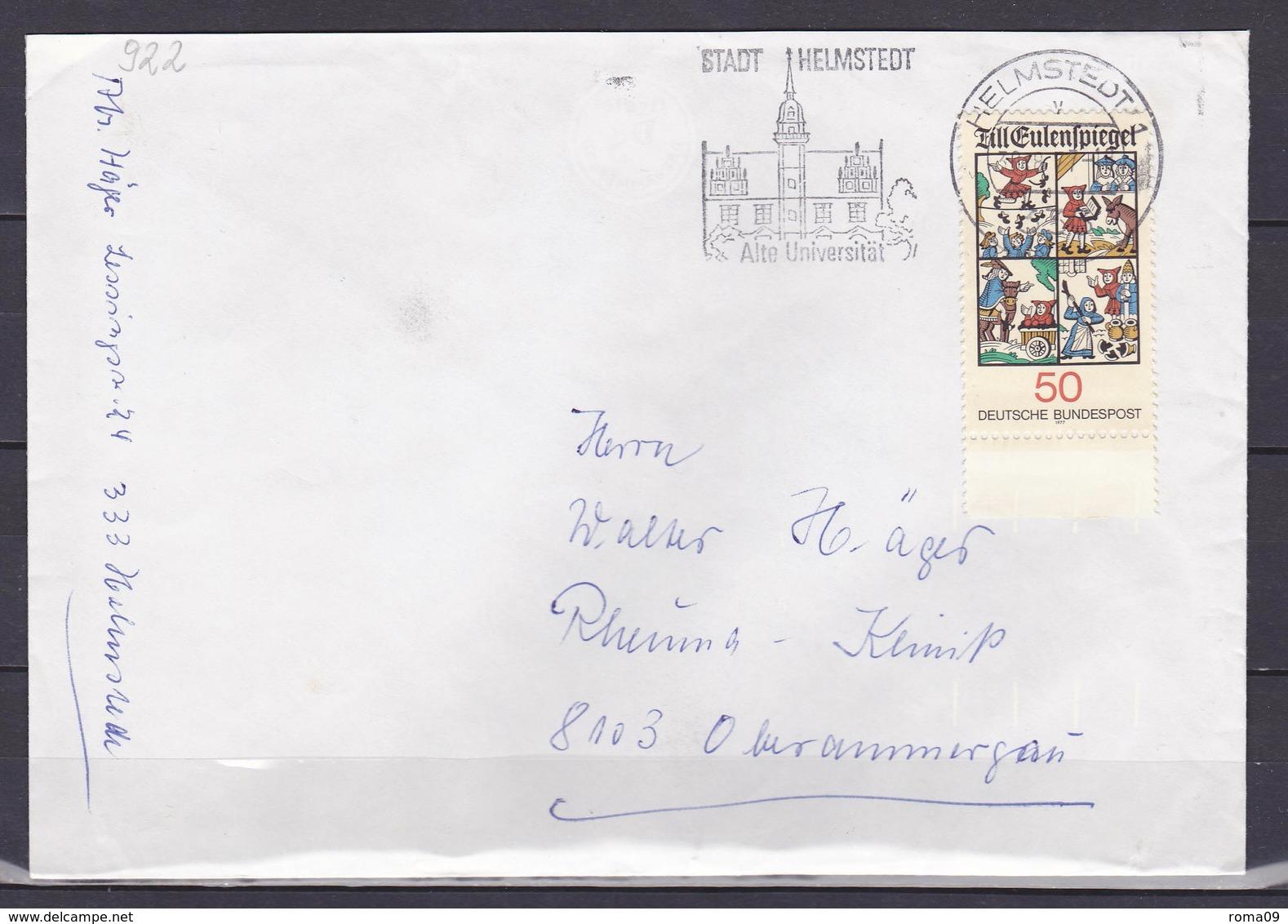 BRD, MiNr. 922; EF Auf Portoger. Brief Von Helmstedt Nach Oberammergau; B-2132 - BRD