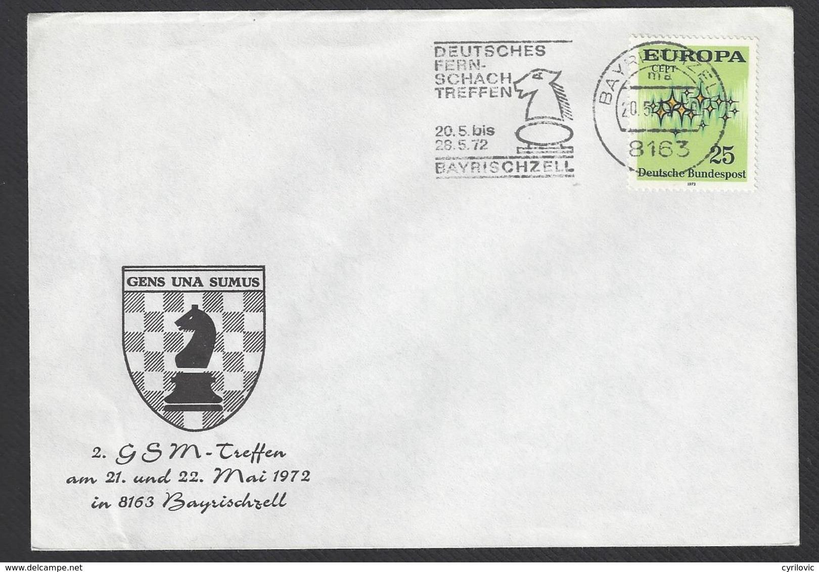 Chess, Germany Bayrischzell, 20.05.1972, Special Roller Type Cancel On Envelope, GSM Meeting - Schaken