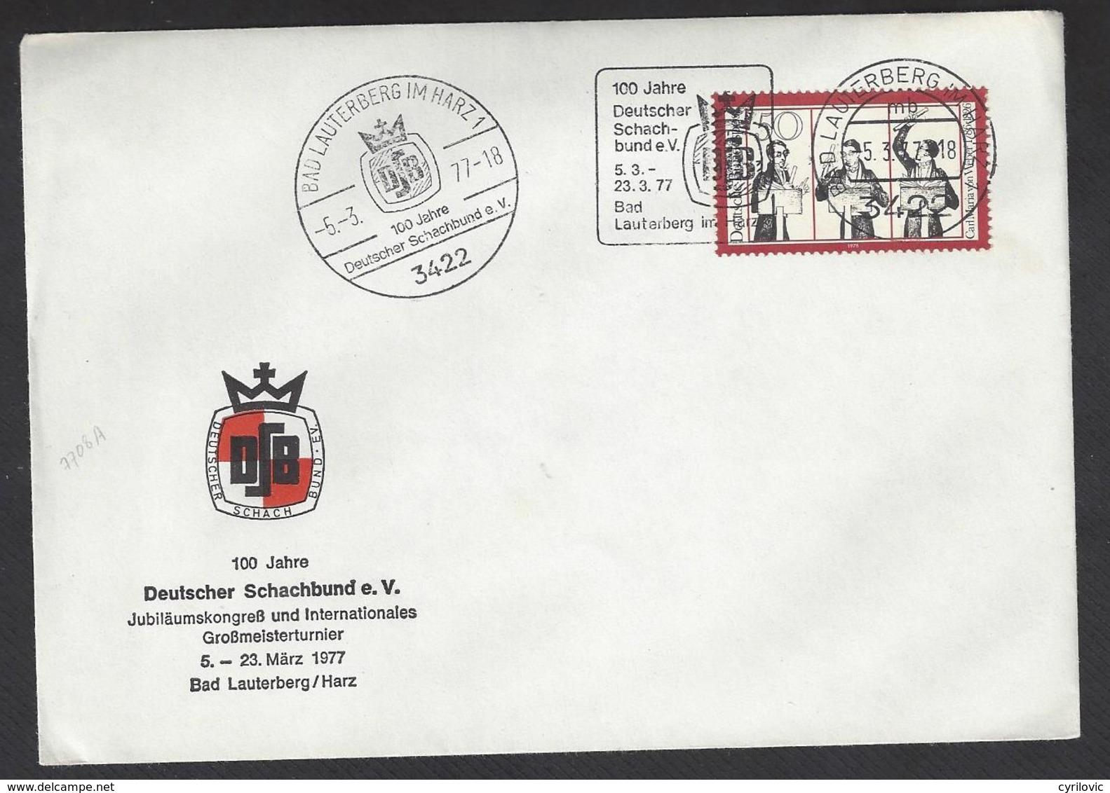 Chess, Germany Bad Lauterburg, 05.03.1977, Special Cancel & Roller Type Cancel On Envelope, 100th Anniversary German CF - Schaken