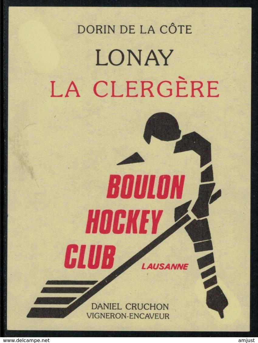 Rare // Etiquette De Vin // Hockey Sur Glace //  Lonay, Boulon Hockey-Club Lausanne - Etiquettes