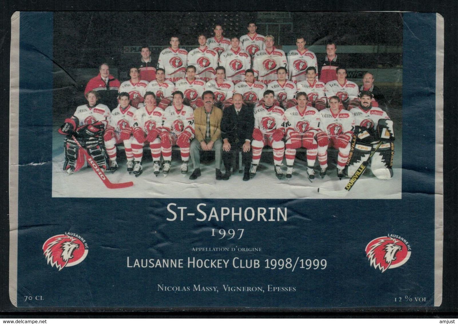 Rare // Etiquette De Vin // Hockey Sur Glace //  St.Saphorin , Lausanne Hockey-Club 1998/1999 - Etiquettes