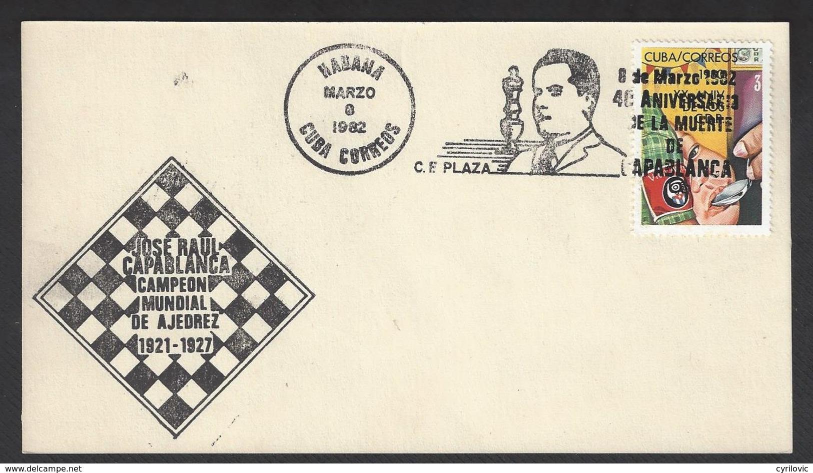 Chess, Cuba Havana, 08.03.1982, Special Roller Type Cancel On Card, 40th Anniversary Death Of Capablanca - Schaken