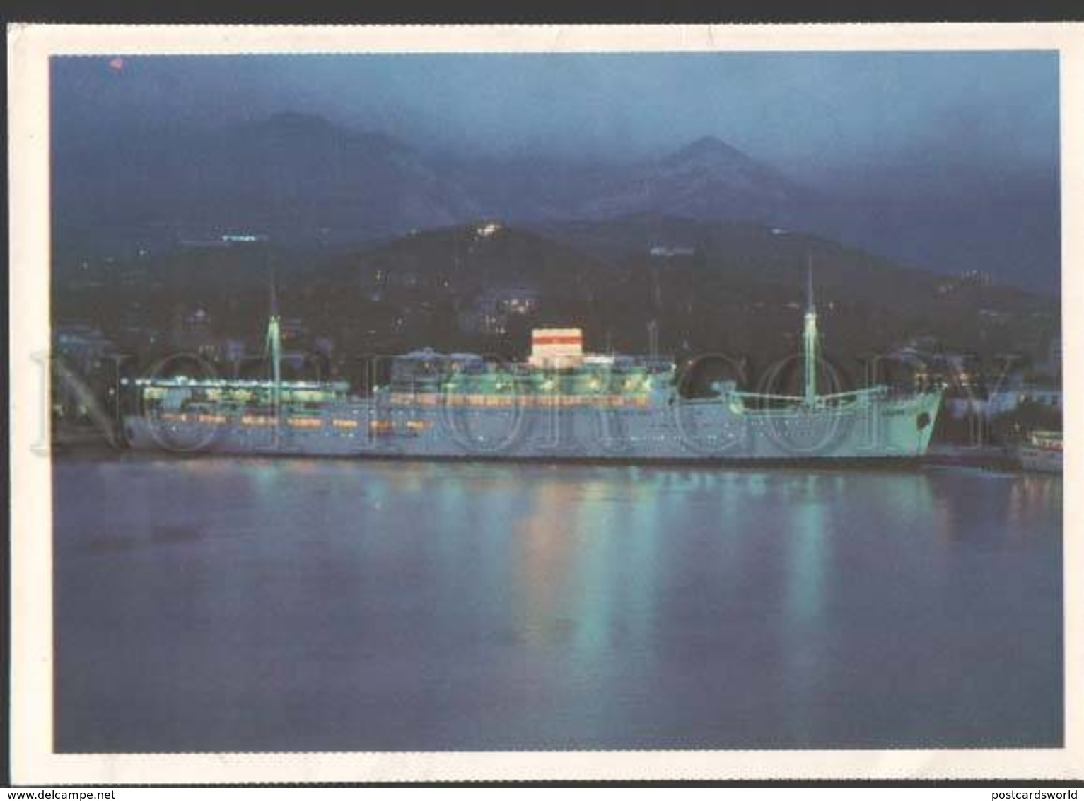 114471 USSR YALTA Evening Port ROSSIA Steamship Russia Old PC - Ships