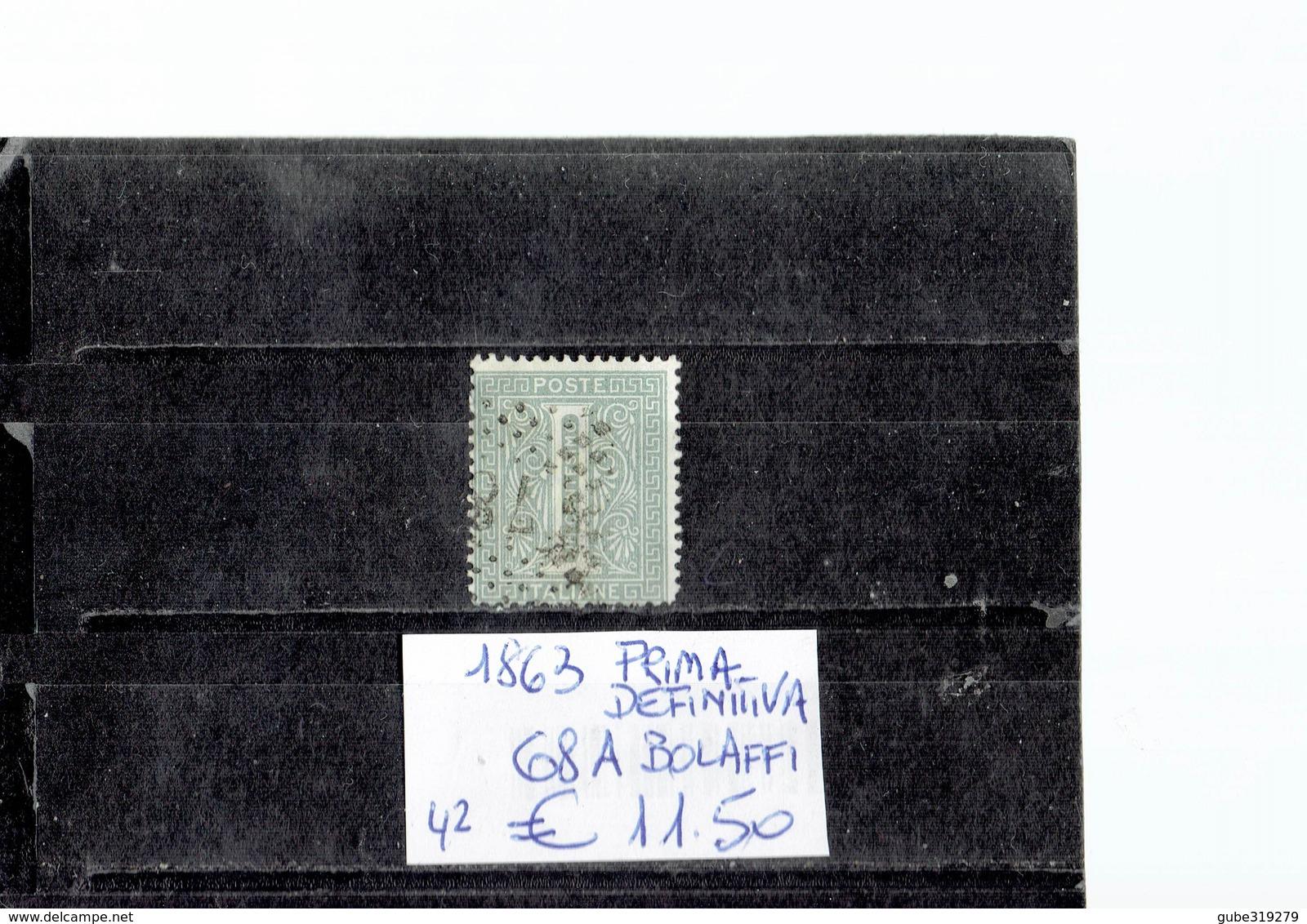 ITALY 1863 - PRIMA SERIE DEFINITIVA 1 CENTESIMO  VERDE USATO (Bolaffi 68A) ALBVEC ITA 1 VER - 1861-78 Vittorio Emanuele II