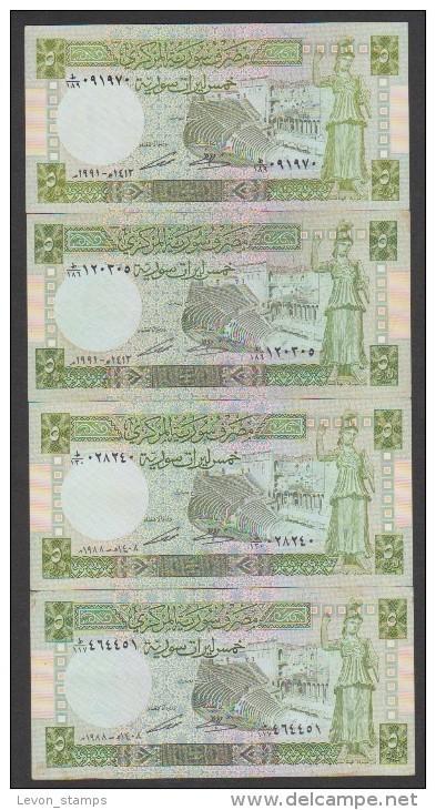 Syria,Syrie, 5 Pound 1991,1988(4pic.) Pick 100e,d ,VF. - Syrie