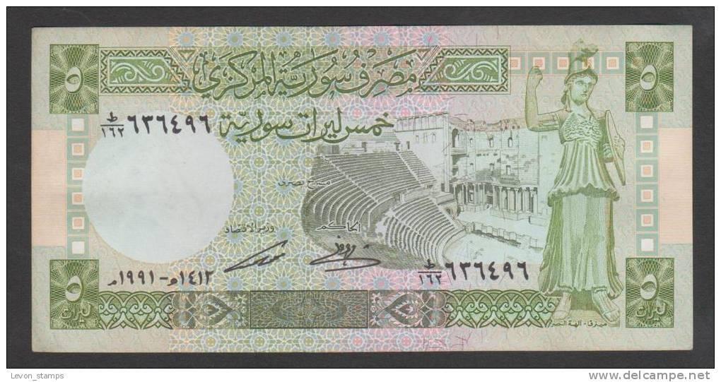 SYRIA ,SYRIE, 5 Syrian Pounds, 1991 ,No:100e,(3), VF. - Syrie