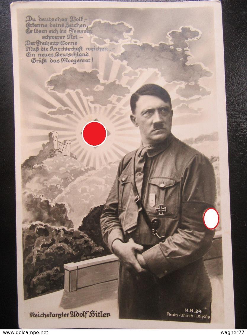 Postkarte Reichskanzler Hitler Mit Hakenkreuz-Sonne Ca. 1933 - Briefe U. Dokumente