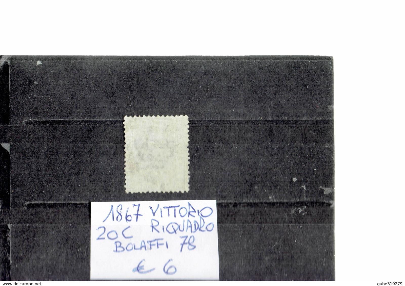 ITALY 1867 - VITTORIO RIQUADRO AZZURRO  20 CENTESIMI   USATO (Bolaffi 78) ALBVEC ITA 20AZR - 1861-78 Vittorio Emanuele II