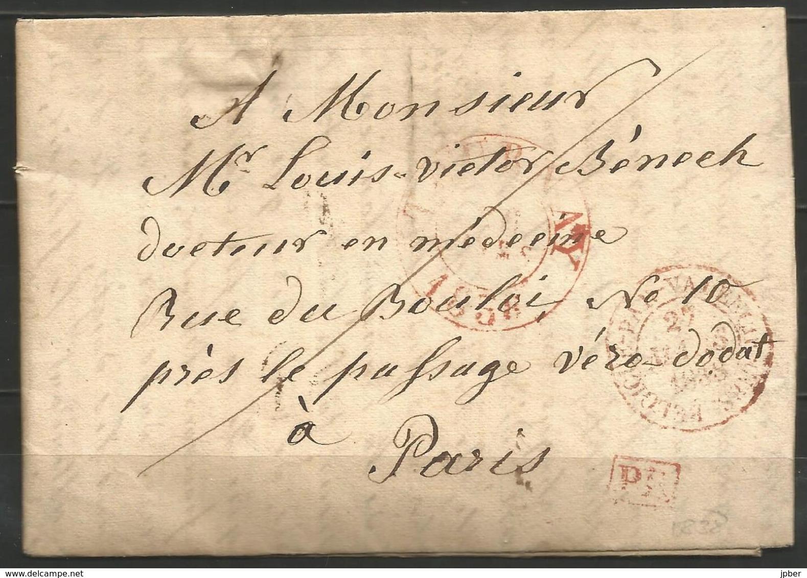 """(D156) Lettre De TOURNAI (TOURNAY En Rouge) Du 26/3/1838 Vers Paris - """"par Valenciennes"""" - 1830-1849 (Belgique Indépendante)"""