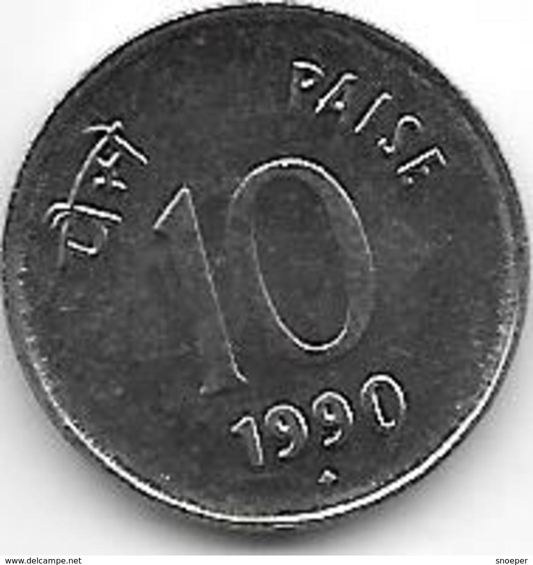 *india  10 Paisa 1990 B Km 40.1  Unc !! - Inde