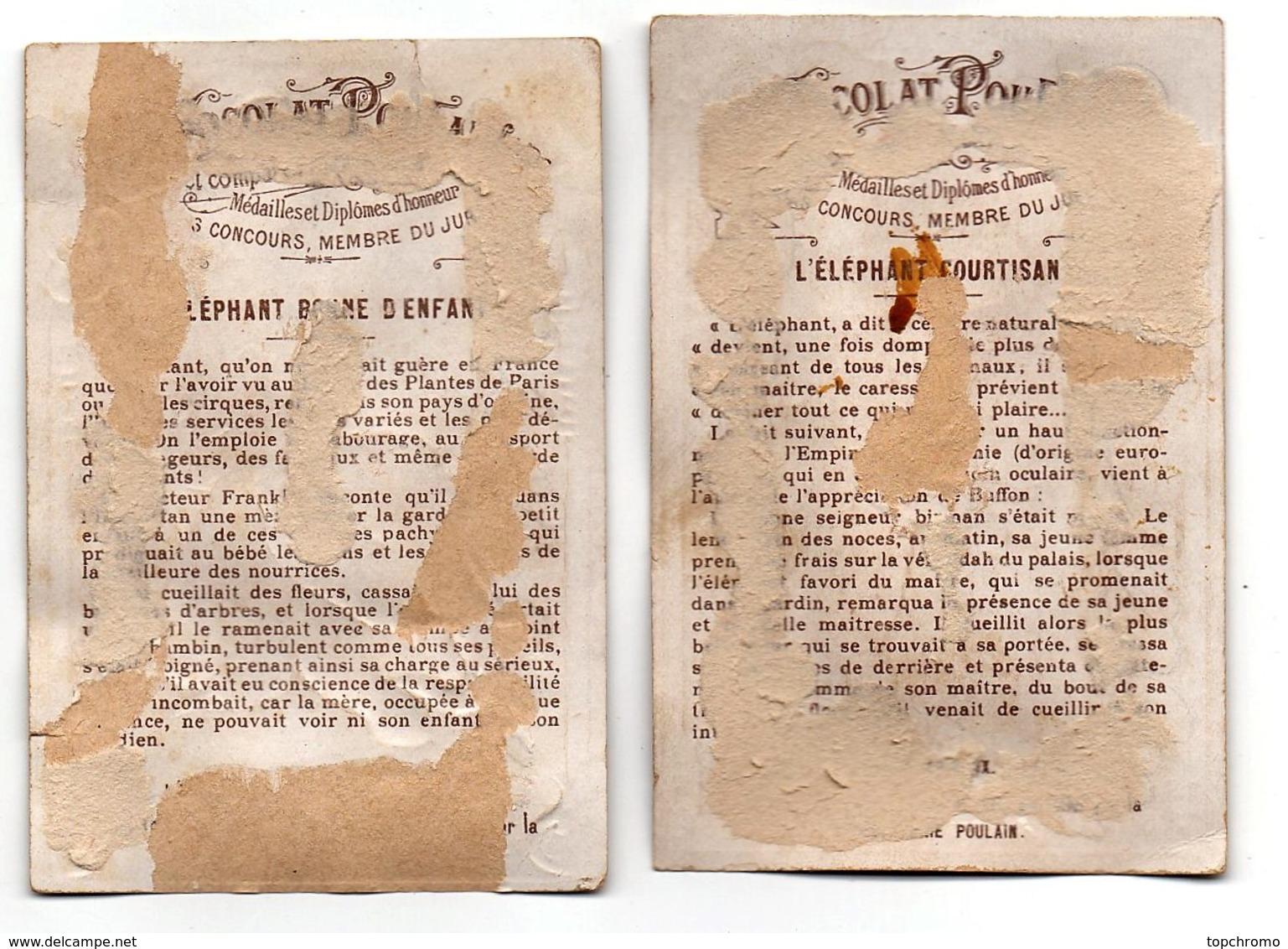 CHROMO Chocolat Poulain L'éléphant Courtisan Bonne D'enfant (2 Chromos) - Poulain
