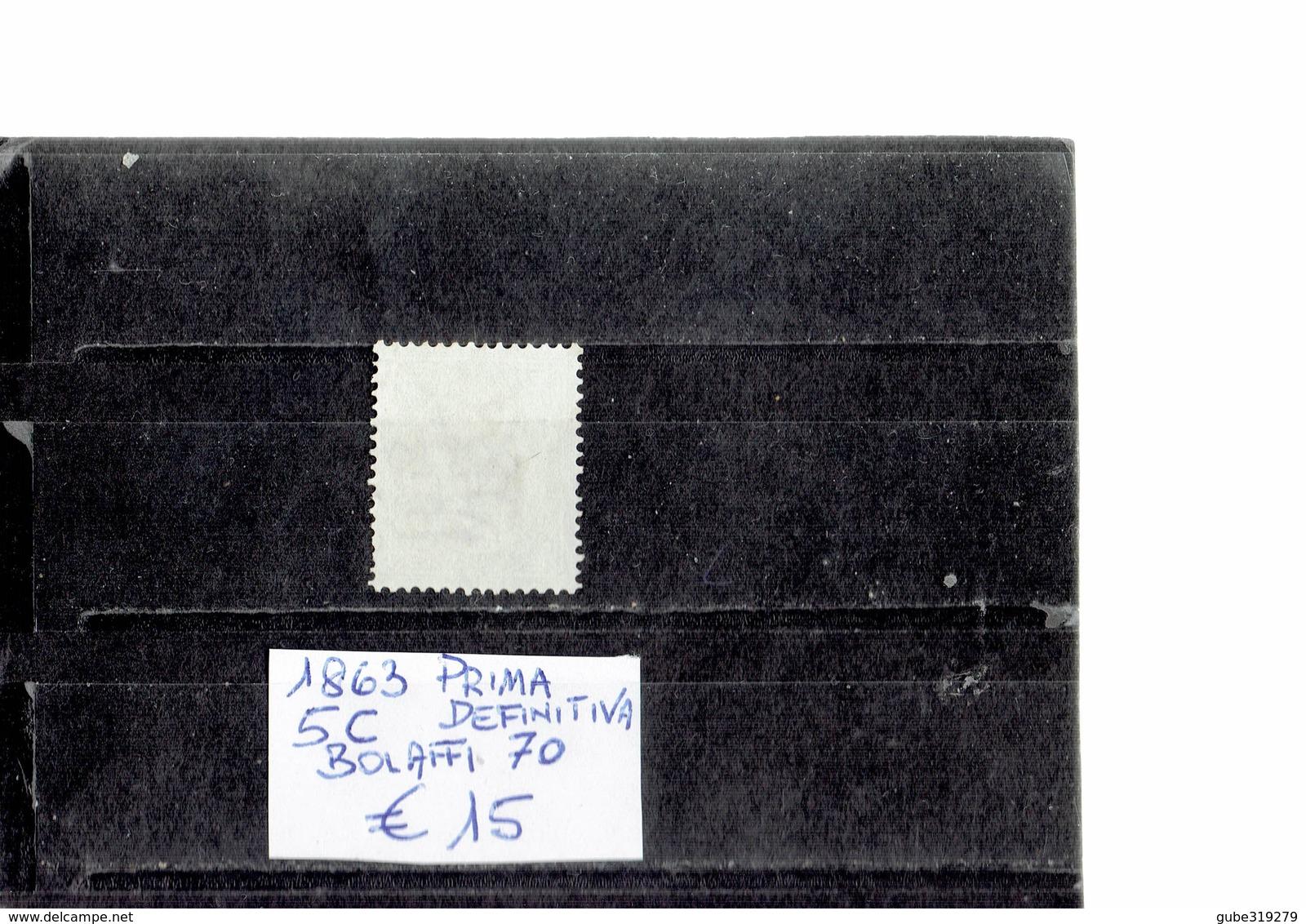 ITALY 1863 - SERIE PRIMA DEFINITIVA  5 CENTESIMI   USATO (Bolaffi 70) ALBVEC ITA 5VER - 1861-78 Vittorio Emanuele II