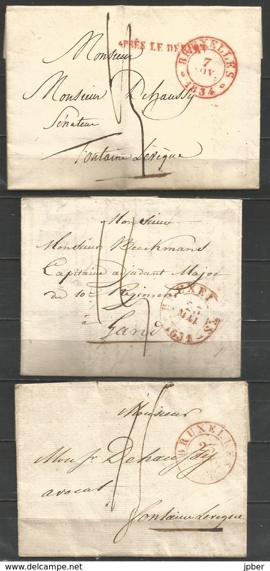 (D164) 3 Lettres De BRUXELLES (càd En Rouge) Vers Gand (1831) Et Fontaine-l'Evêque (1832 Et 1834) - 1830-1849 (Belgique Indépendante)