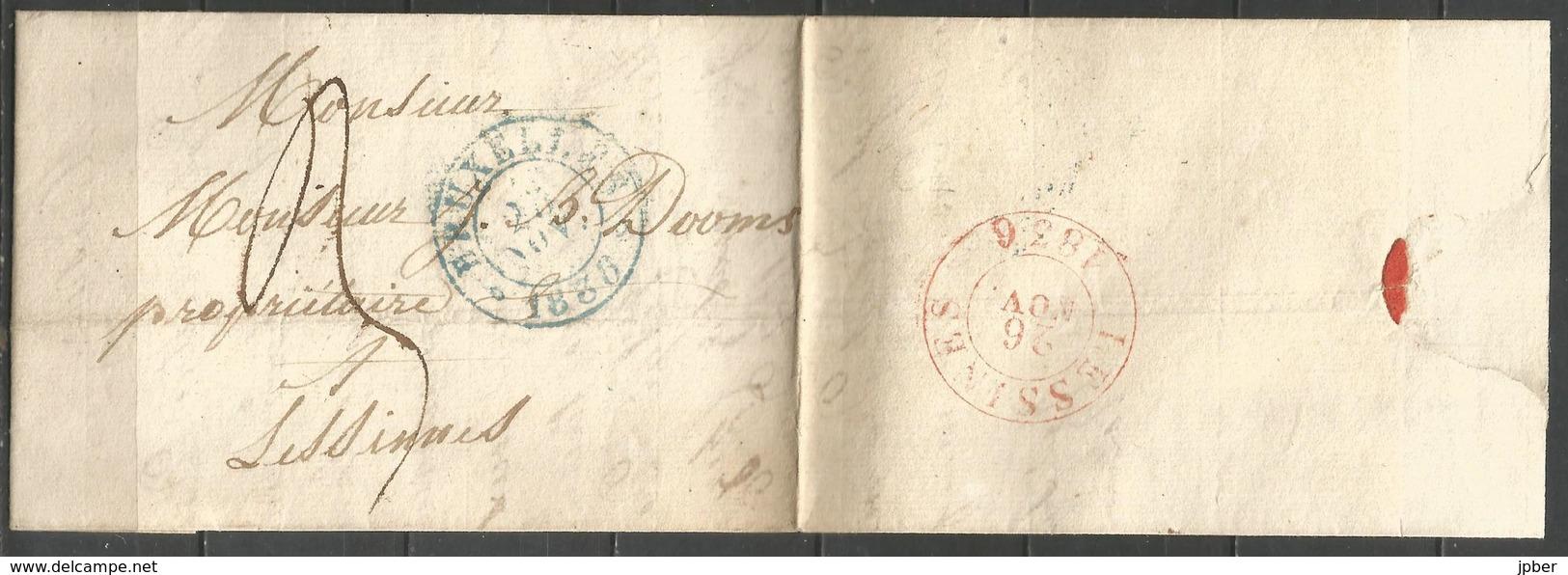 (D165) Lettre De BRUXELLES (càd En Bleu) Vers Lessines (1836) - 1830-1849 (Belgique Indépendante)