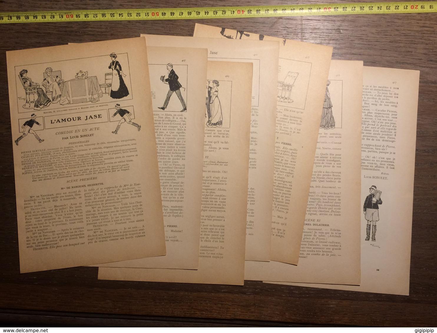 1909 DOCUMENT L AMOUR JASE COMEDIE UN ACTE PAR LOUIS SONOLET RENE VINCENT - Vieux Papiers
