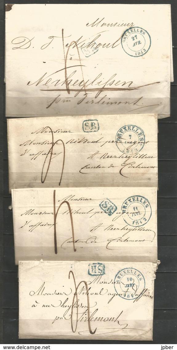 (D166) 4 Lettres De BRUXELLES (càd + SR En Bleu) Vers Neerheylissem - 1830-1849 (Belgique Indépendante)