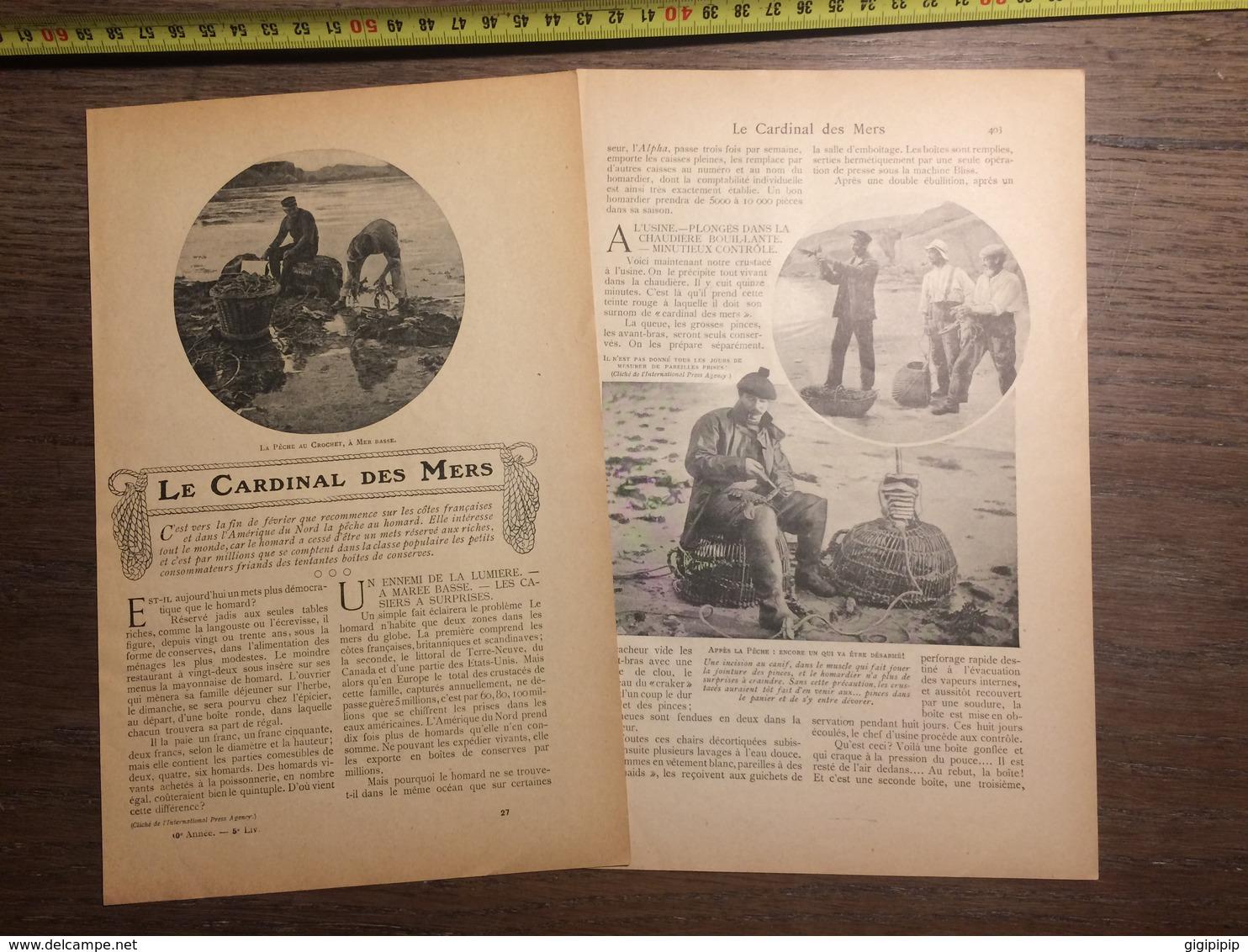 1909 DOCUMENT LE CARDINAL DES MERS PECHE AU CROCHET HOMARD - Vieux Papiers