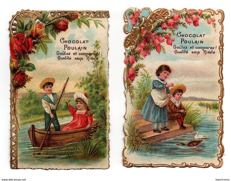 CHROMO Découpis Chocolat Poulain Enfants Fille Garçon Barque Rame Plan D'eau Rivière étang Canard Cygne (2 Chromos) - Poulain