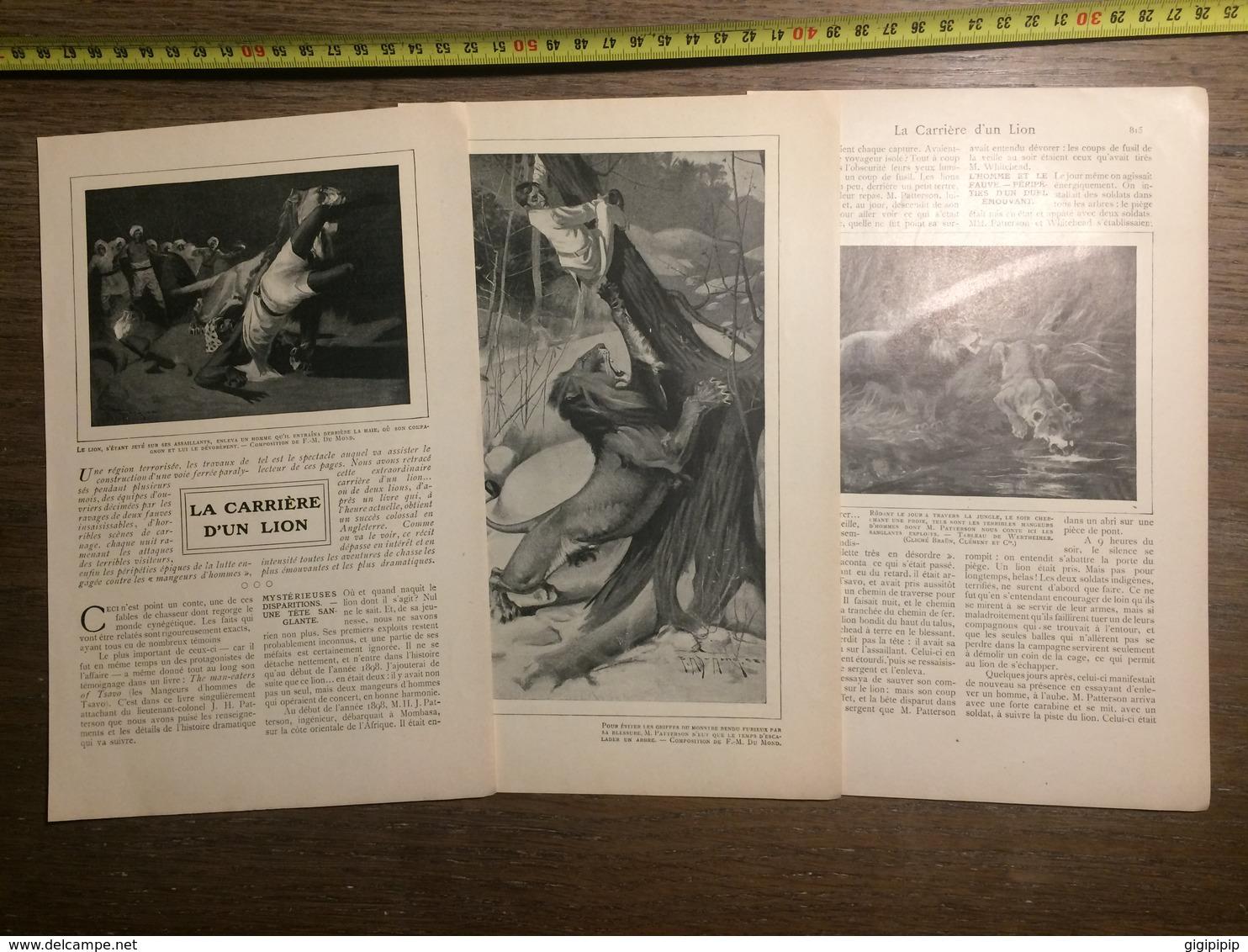 1909 DOCUMENT LA CARRIERE D UN LION - Vieux Papiers