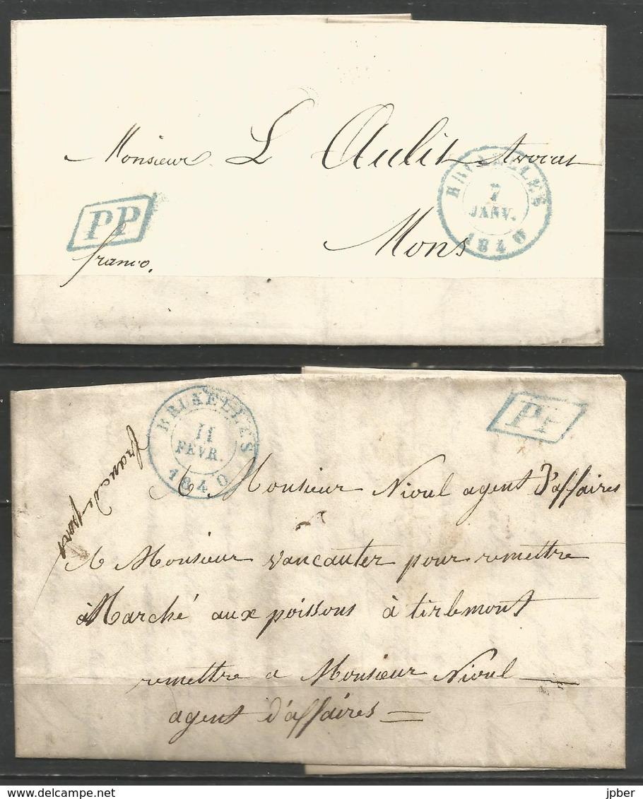(D168) 2 Lettres De BRUXELLES (càd + PP En Bleu) Vers Mons Et Tirlemont - 1830-1849 (Belgique Indépendante)