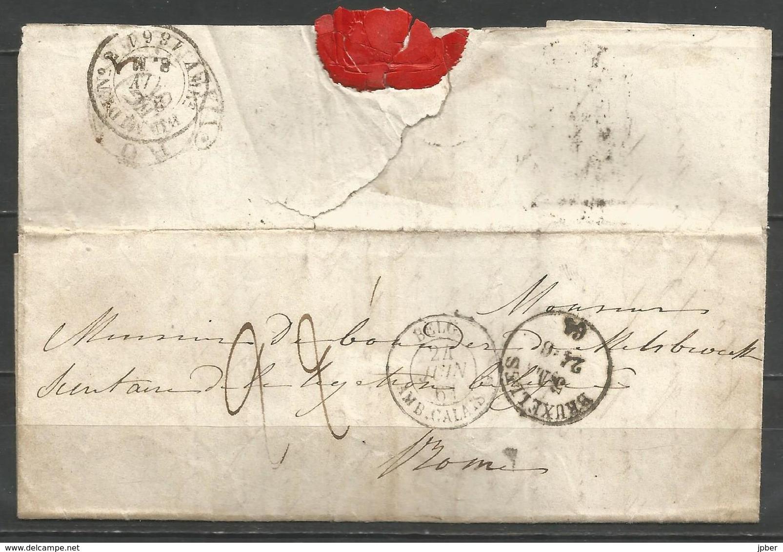 (D170) Lettre De BRUXELLES Vers Rome (càd En Noir) + Ambulant Par Calais + Verso Amulant Du Midi N°2 + Roma - 1830-1849 (Belgique Indépendante)