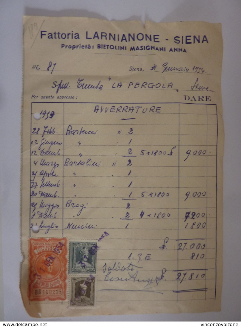 """Fattura """"Fattoria LARNAIONE - SIENA Proprietà BIETOLINI MASIGNI ANNA"""" 1954 Con Marche Da Bollo - Italia"""