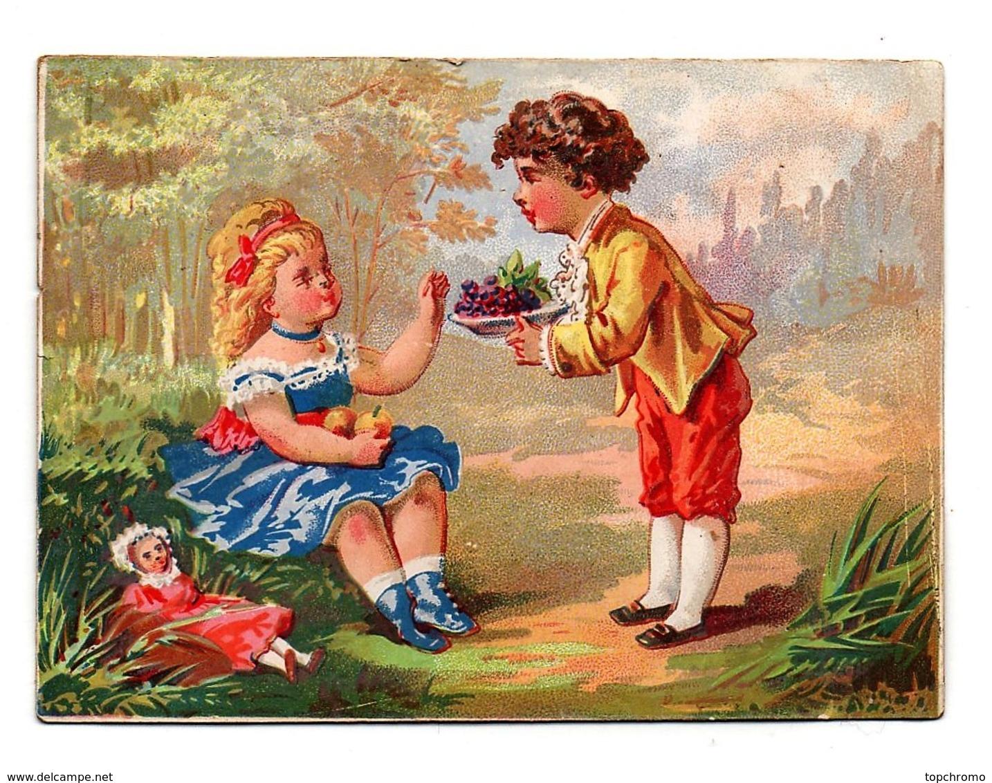 CHROMO A St Louis Rue Frézier Brest Dangivillé Enfants Fille Garçon Poupée Bouquet De Fleurs - Chromos