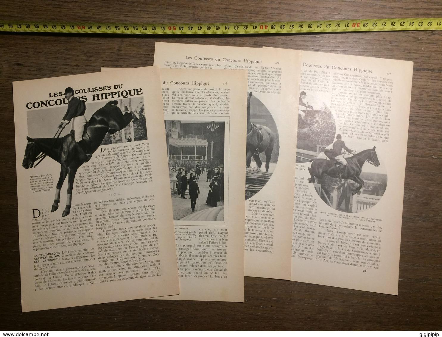 1909 DOCUMENT COULISSES DU CONCOURS HIPPIQUE - Vieux Papiers
