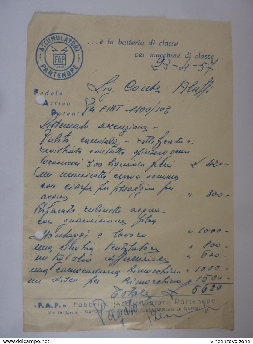"""Fattura """"FIAT 1100 / 103  Sig. Conte Aluffi """" 23 Marzo 1957 Carta Pubblicitaria """"ACCUMULATORI PARTENOPE - NAPOLI"""" - Italia"""