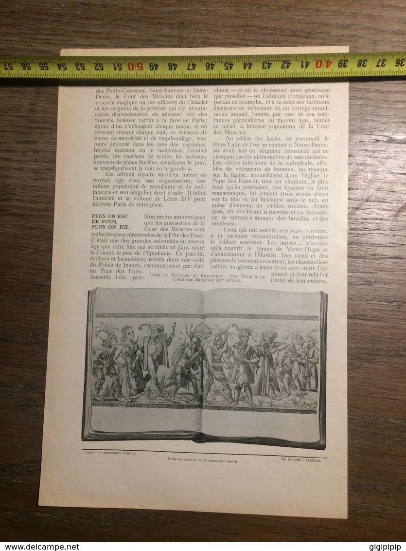 1909 DOCUMENT COUR DES MIRACLES VIENT D ETRE RECONSTITUEE - Vieux Papiers