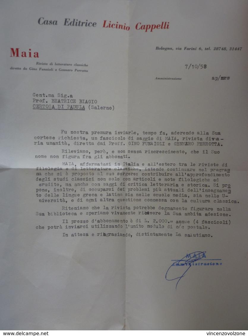 """Lettera Commerciale """"Casa Editrice LICINIO CAPPELLI Bologna - Rivista MAIA"""" 1958 - Italia"""