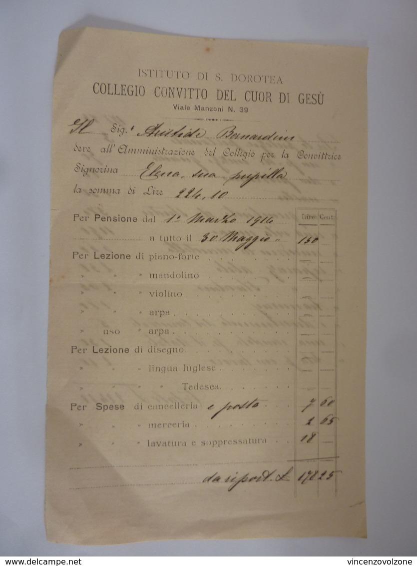 """Ricevuta """"ISTITUTO DI S. DOROTEA COLLEGIO CONVITTO DEL CUORE DI GESU' PENSIONE CONVITTRICE"""" 1914 - Italia"""