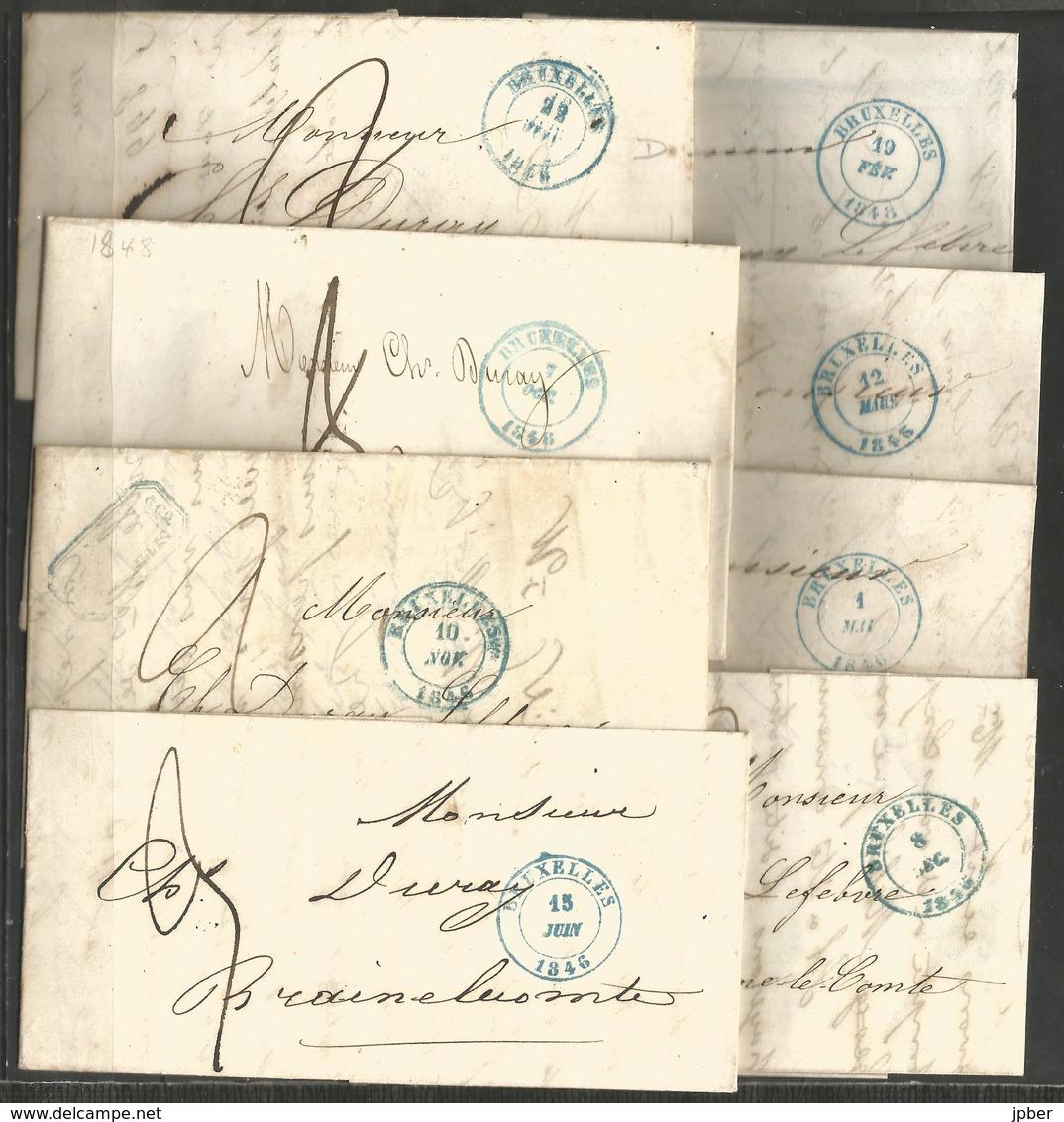 (D171) 28 Lettres De Bruxelles (càd Type B.1.3) Vers Braine-le-Comte - 1830-1849 (Belgique Indépendante)